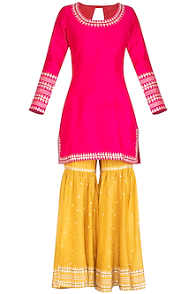 Pink Embroidered Gharara Set
