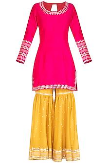Pink Embroidered Gharara Set by Priyal Prakash