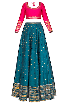 Teal Embroidered Lehenga Set
