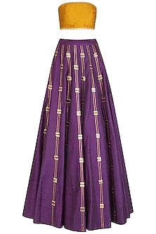 Aubergine Embroidered Lehenga Set by Priyal Prakash