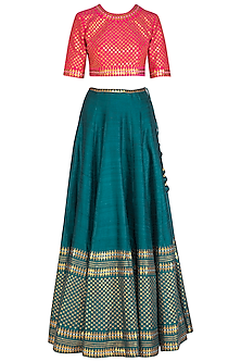 Teal & Pink Embroidered Lehenga Set