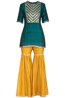 Teal & Mustard Embroidered Gharara Set