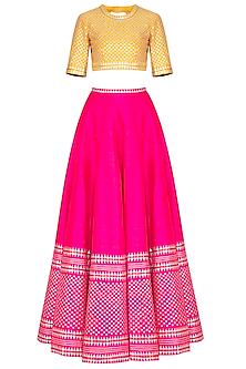 Pink Embroidered Lehenga Set by Priyal Prakash