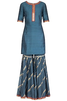 Charcoal Blue Embroidered Gharara Set