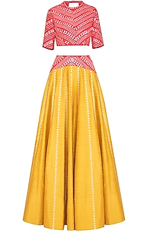 Mustard & Red Embroidered Lehenga Set