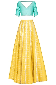 Yellow & Mint Embroidered Lehenga Set