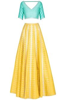 Yellow & Mint Embroidered Lehenga Set by Priyal Prakash