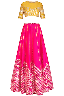 Pink & Mustard Embroidered Lehenga Set
