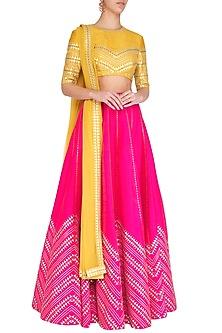 Pink & Mustard Embroidered Lehenga Set by Priyal Prakash