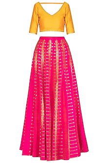Pink & Yellow Embroidered Lehenga Set
