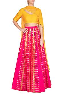 Pink & Yellow Embroidered Lehenga Set by Priyal Prakash