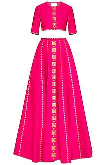 Pink Embroidered Sequins Lehenga Set by Priyal Prakash