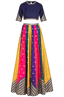 Multicolored Embroidered Lehenga Set by Priyal Prakash