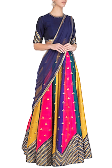 Multicolored Embroidered Lehenga Set by Priyal Prakash