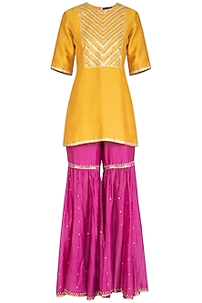 Mustard & Dusty Purple Embroidered Gharara Set by Priyal Prakash
