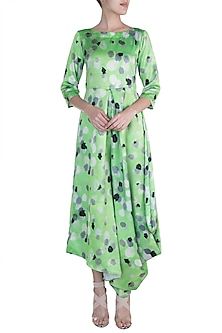 Green Printed Asymmetric Draped Jumpsuit by Prints By Radhika
