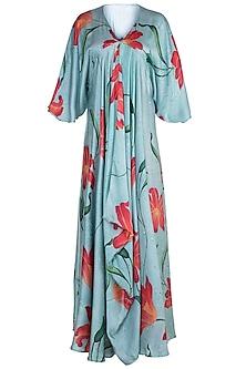 Light Blue Printed Draped Maxi Dress by Prints By Radhika