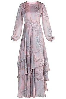 Rose Gold Layered Ruffled Dress by Prints By Radhika