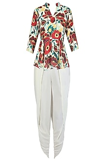 Beige and Ox Blood Red Floral Printed Peplum Top With Dhoti Pants