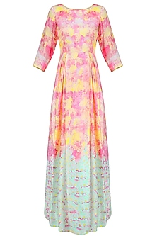 Pink and Blue Floral Printed Sequinned Box Pleated Gown
