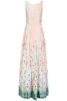 Off White and Pink Floral Printed Cut Out Box Pleated Gown