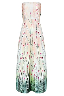Off White and Pink Floral Printed Strapless Midi Dress