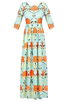 Blue Pleated Gown with Tangerine Dupatta by Prints By Radhika