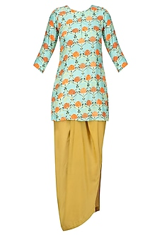 Blue Motif Print Kurta and Yellow Dhoti Skirt Set.