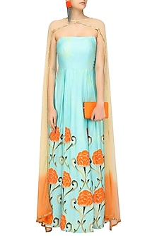 Blue Off Shoulder Gown with Cape Style Dupatta by Prints By Radhika