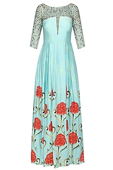 Blue Box Pleated Motif Print Gown