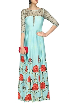 Blue Box Pleated Motif Print Gown by Prints By Radhika