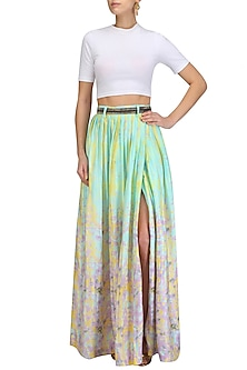 Blue Printed One Sided Skirt with Embellished Belt by Prints By Radhika