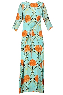 Blue Motif Prints Wrap Dress