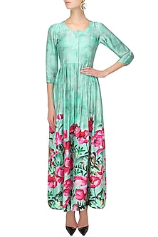 Aqua blue and pink floral printed front open cape by Prints By Radhika