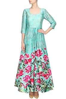 Aqua blue and pink floral flared cutout gown by Prints By Radhika