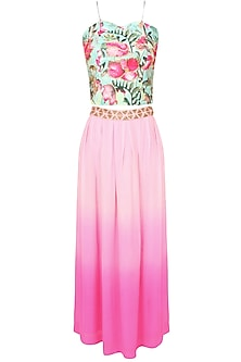 Aqua blue and pink floral sequins and beads embroidered corset and pink flared skirt set
