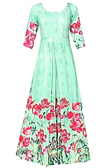 Aqua blue and pink floral cutdana embroidered pleated anarkali set
