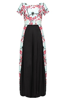 Aqua blue and pink floral beads embroidered front open cape and black palazzo pants set