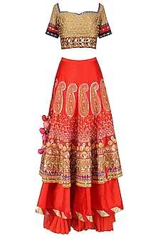 Gold and Red Layered Embroidered Lehenga Set