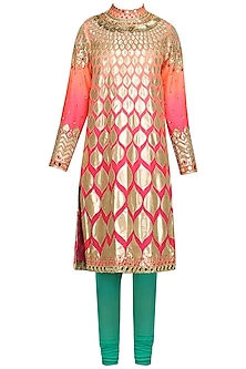 Peach Ombre Coin Embroidered Kurta with Green Churidar