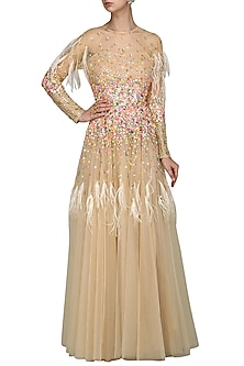 Beige Embroidered Gown by Param Sahib