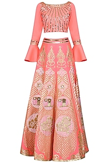 Pink Embroidered Crop Top with Skirt by Param Sahib