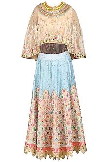Powder Blue Skirt with Cape Blouse by Param Sahib