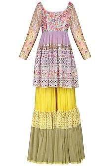 Yellow Embroidered Sharara Set