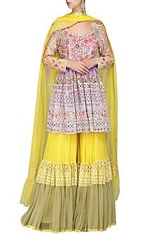 Yellow Embroidered Sharara Set by Param Sahib
