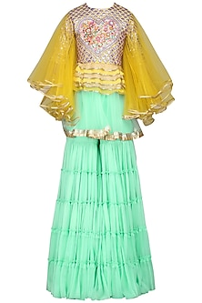 Yellow and Mint Embroidered Sharara Set