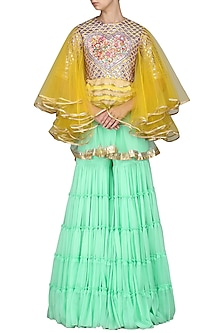 Yellow and Mint Embroidered Sharara Set by Param Sahib