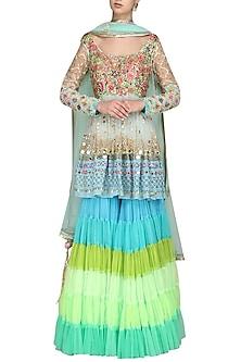 Blue Embroidered Sharara Set by Param Sahib