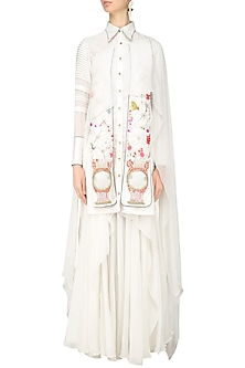 Ivory Floral Embroidered Cape Shirt and Draped Skirt Set by Param Sahib