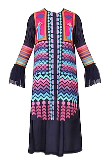 Navy Blue Applique Work Tunic Dress